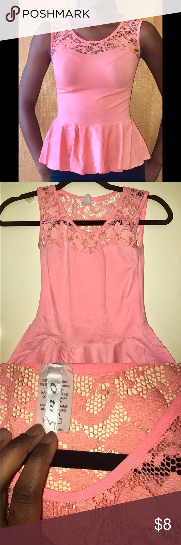 Pink Peplum Top Stretchy pink peplum top with floral lace design. Will fit sizes XS & S Tops