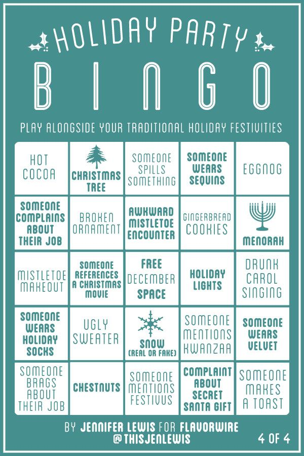 "Happy holidays, party people! It's time for another round of Flavorwire bingo. Last month, we posted ""Thanksgiving"" Bingo to spice up your family's dysfunctional dinner table. This time, we've made..."