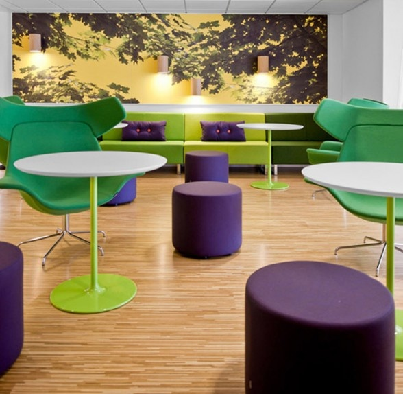 To create an amazing environment choose some stunning colours. This is a great example! Hues of greens followed by a contrasting purple.