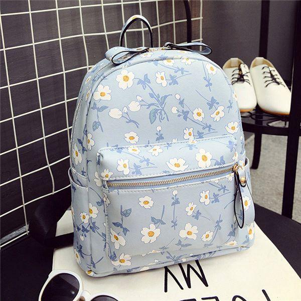 Cute Bags Women Student Floral Backpack School Bags Doule Zipper Shoulder Bags