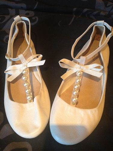 Cream and pearl Topshop ballet flats with ankle strap | eBay