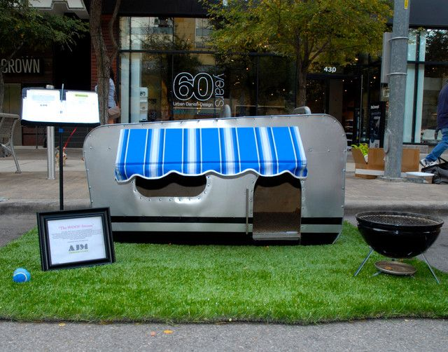 BARKITECTURE 2012  If I were a small dog, my first choice would be this traveling canine's dream designed by AJM Construction. The Woof-Stream is made from local recycled materials including sheet metal and wood and replicates the style of a traditional Airstream. By Kara Mosher