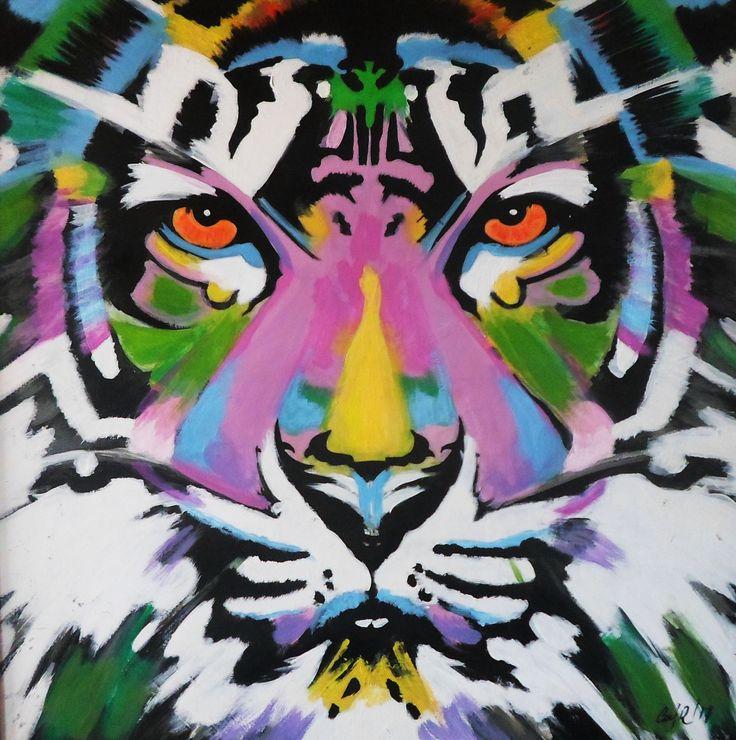 """Tigre"" Acrìlico sobre Madera. 80 x 80 Cms. 2016."