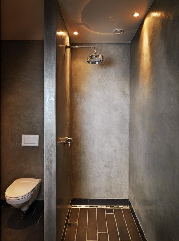 concrete shower - love not having any glass door to clean... #bathroom