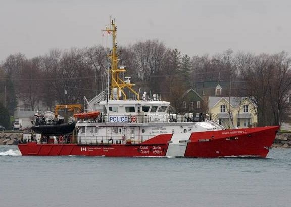 CCGS Private Robertson V.C.  is named for Victoria Cross recipient. It is the first of nine new Hero Class vessels – built at a Canadian shipyard for the Canadian Coast Guard.The vessel is 43 metres in length, has a top speed of 25 knots and a range of 2000 nautical miles, and will be able to stay at sea for up to two weeks without re-provisioning.