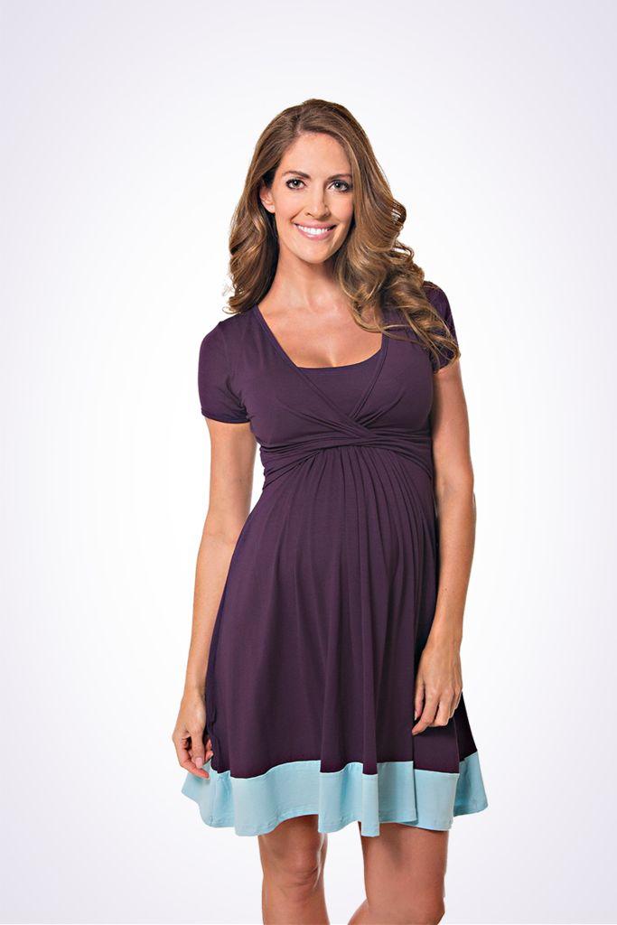 The Lonzi&Bean UltiMum maternity and breastfeeding dress in Indigo-Duckegg
