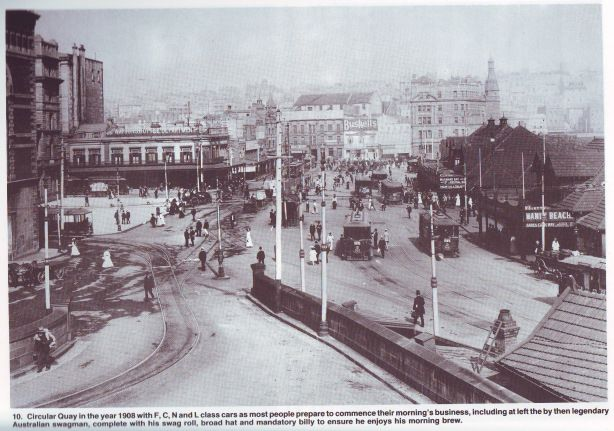 Circular Quay in 1908. (Source: The Sydney Tram - a pictorial review, Howard R. Clark, 1988)