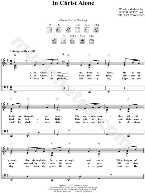 Print and download In Christ Alone sheet music composed by Keith Getty. Sheet music arranged for Piano/Vocal/Chords in G Major (transposable).