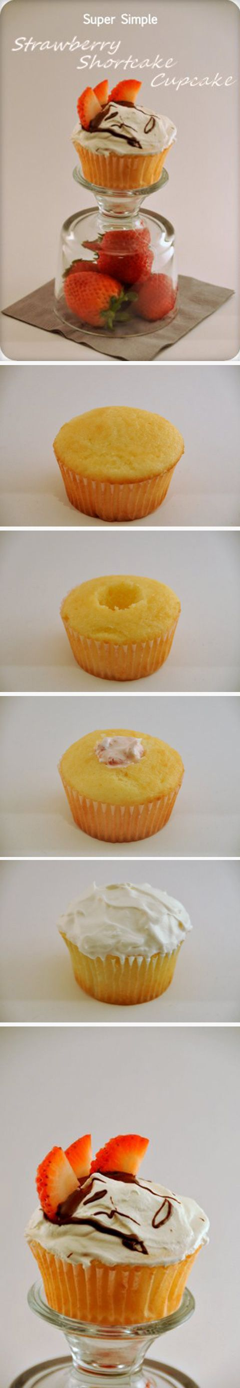 strawberry shortcake cupcake Recipe ~ Cool Whip, Strawberries all stuffed into a cupcake... Delicious!