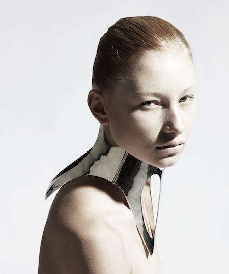 Sculptural Neckpiece - chrome collar; futuristic fashion; wearable art // Ana Rajcevic