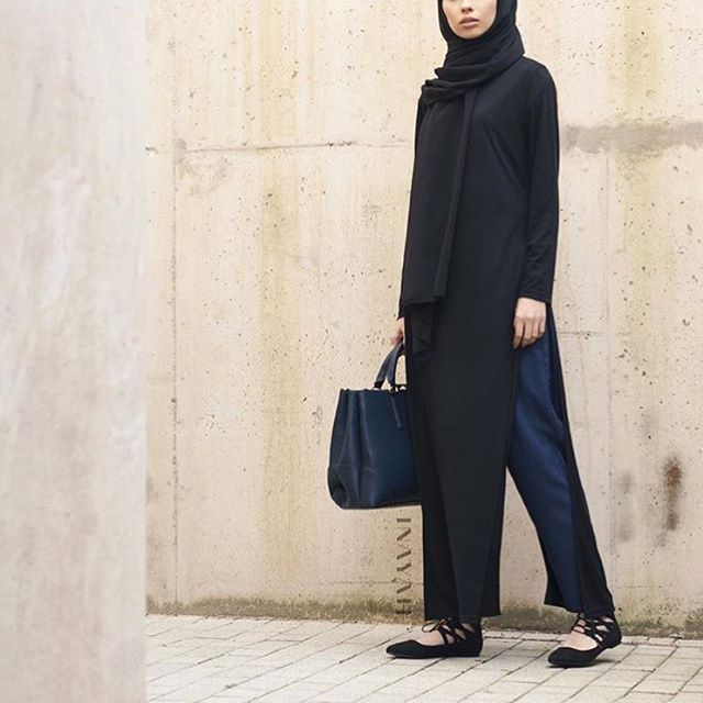 - Effortless Looks:  Long Black Tshirt with Slits Navy Pleated Trousers Black Georgette Hijab  All items are available in multiple colours online.  www.inayah.co