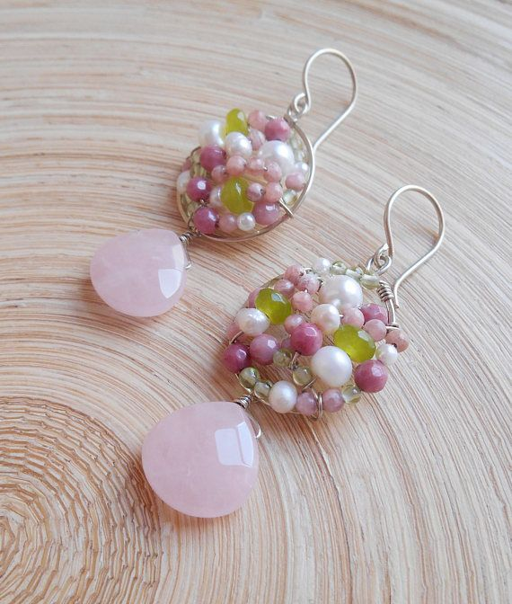 These romantic Peonie pink green rose quartz mosaic earrings capture the beauty of a garden basking in the suns rays. I hand formed and hammered a round hoop frame out of sterling silver wire and inside it I wire wrapped various gemstones including: light pink rhodonite faceted