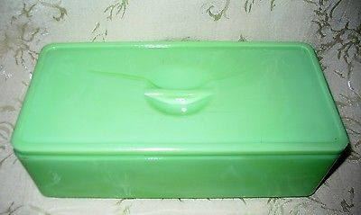 RARE to Find, Jadeite Large Refrigerator Covered Box, 1930's Black Light Tested
