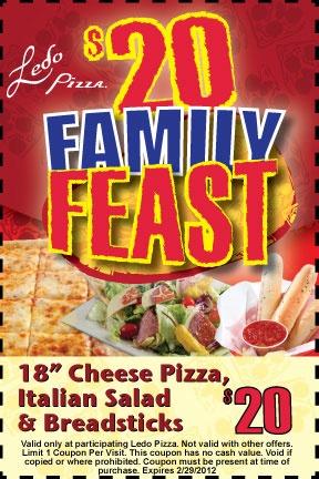 $20 For the Ledo Pizza Family Feast!