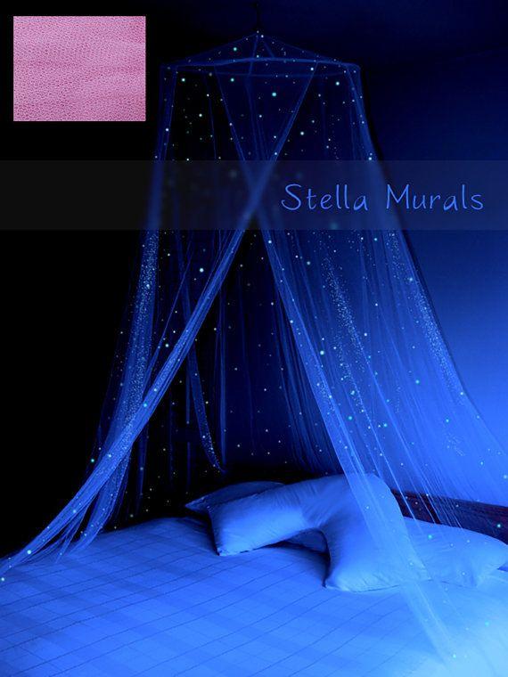Bagliore nel baldacchino Dark Star | Luce rosa zucchero filato | Bambino ragazza Nursery Decor