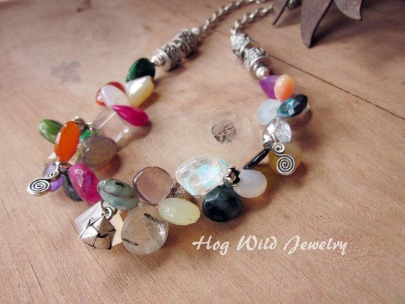 Handcrafted Artisan Multi Colored Gemstone by hogwildjewelry