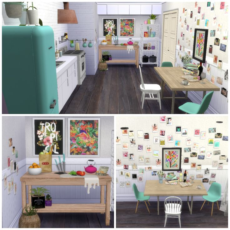 Wall/clutter/chair by  lina-cherie Floor/brick wall by  Peacemaker_IC fridge/knifes/clutter/hood/curtains by BuffSumm Plant by  ANBS Paintings by  PHSIMS Stove/vase/clothesline art by  veranka Polaroids/pictures by OneBillionPixels Polaroids recolors by iicantdance/floral-my-swag Flower Polaroids by  Shenice93 WireCube shelf/string lights by DOT Island Table/clutter by MTQ Sink by [ArtiVitalex] Counter/casseroles/ by ShinoKCR clutter by Pilar/Lulu265 Windows by  AdonisPluto@ModTheSims Dining…