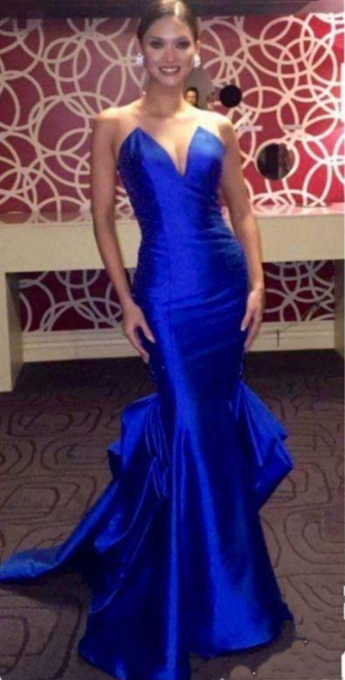 Inspired Royal Blue Evening Dresses Sheer Neck Sleeveless