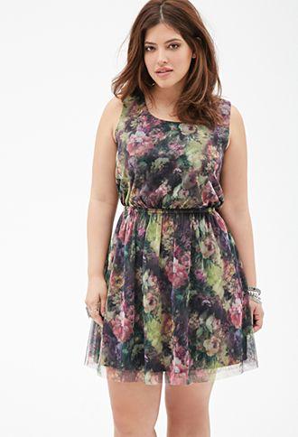 Floral Print Mesh Dress | FOREVER21 PLUS | #f21plus