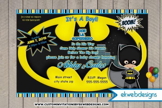 Batman Baby Shower Invitations- Custom Superhero Baby Shower invites