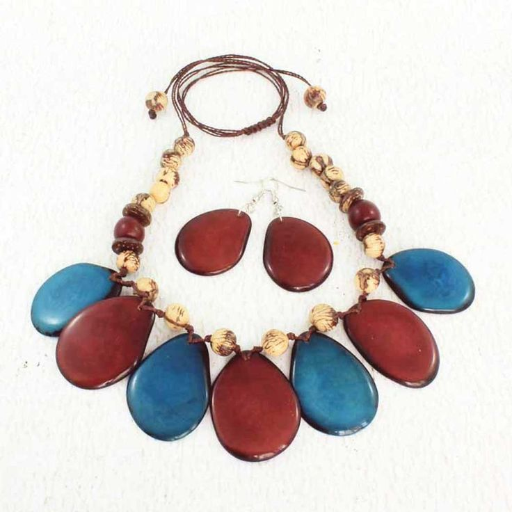 blue and brown chunky tagua necklace from ArtisansintheAndes.com
