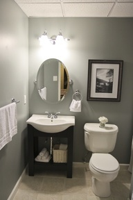 Downstairs toilet - grey and black/white decor