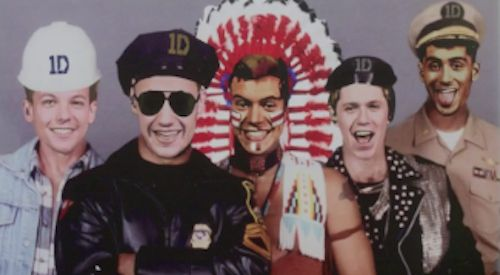 When they show this picture of the boys as the Village People.   The 21 Most WTF Moments From One Direction's Latest Music Video