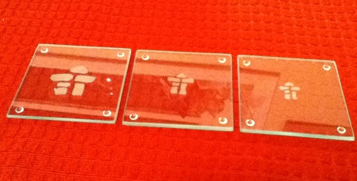 Etched Inuksuk glass Etched Coasters beautiful personalized gift! www.facebook.com/madewithlovebyraeannbrown