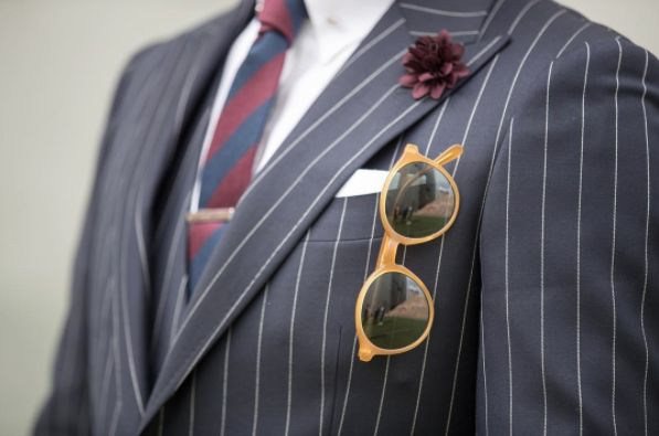 Our striped tie paired with a pin stripe suit.