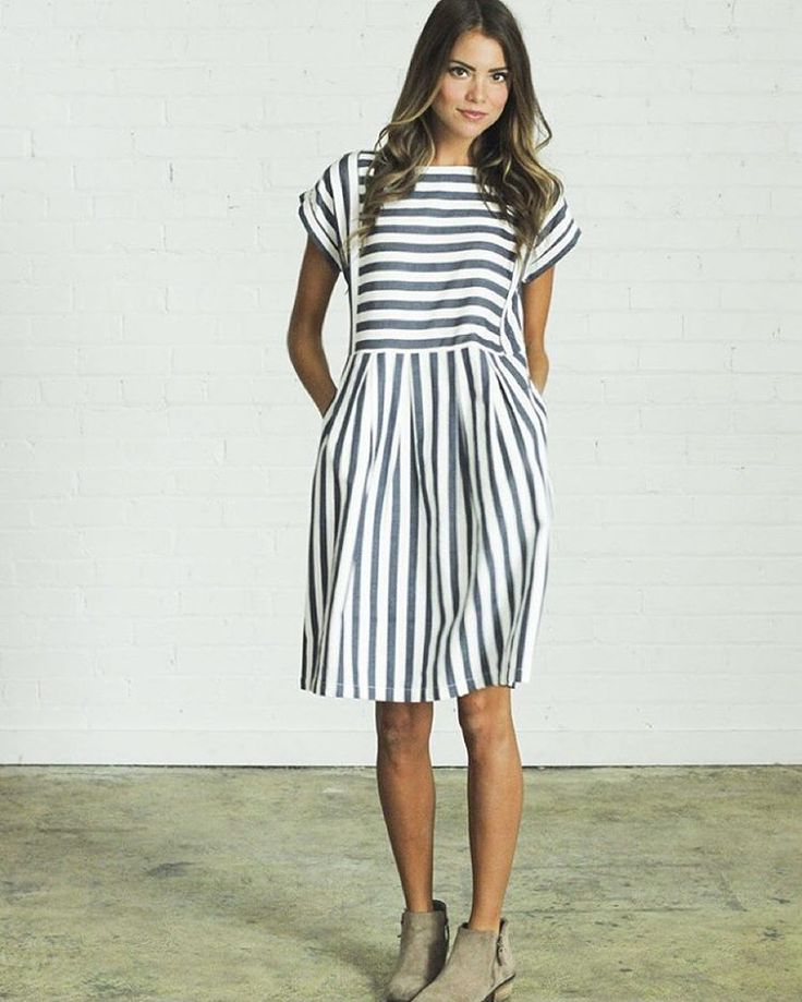 Maybe you didn't know we released the cutest dress ever today.. Bib Stripe Dress is available now!