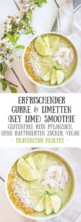 Frischer Gurken und Limetten Smoothie (Key Lime Smoothie) - glutenfrei, rein pflanzlich, ohne raffinierten Zucker, gesund - de.heavenlynnhealthy.com