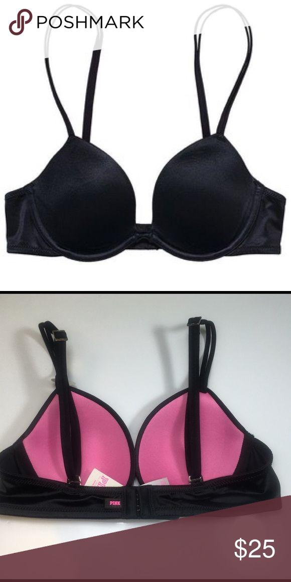 Victoria's Secret HEARTBREAK! PLUNGE -PINK✨✨✨ This Black lined Bra is extra-low with a plunging no-Show Neckline, Great for your low cut Tops or Dress. ✨✨✨ PINK Victoria's Secret Intimates & Sleepwear Bras