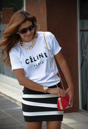 T-shirt koszulka biała white CELINE PARIS SHOCK share&block