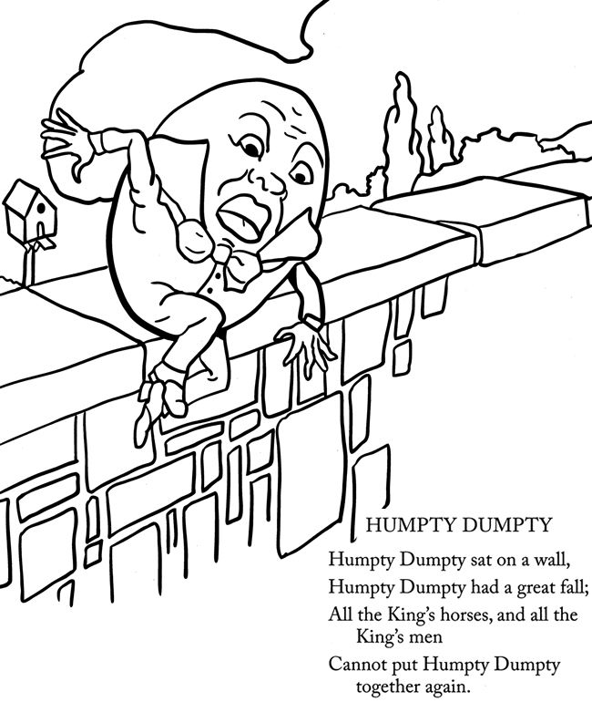 humpty dumpty real mother goose coloring page by dover publications