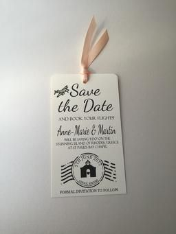 Luggage tag Save the Date for destination weddings abroad