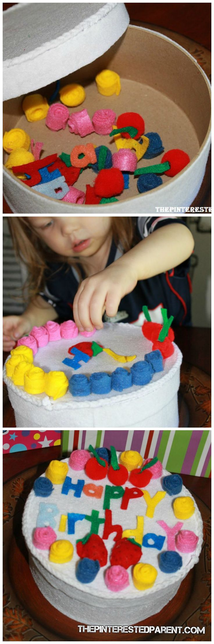 Felt Birthday Cake for toddler play- made out of a plain hatbox