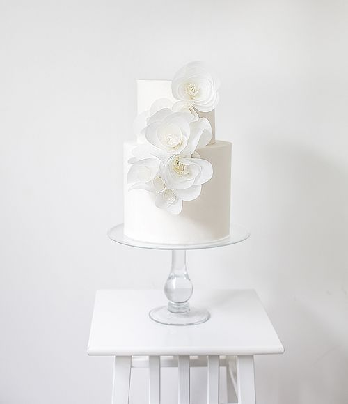 all white wedding cake / http://www.deerpearlflowers.com/23-unique-wedding-cakes-made-with-love/