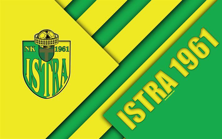 Download wallpapers NK Istra 1961, 4k, yellow green abstraction, logo, Istra FC, material design, Croatian football club, Pula, Croatia, Prva HNL, football, Croatian First Football League