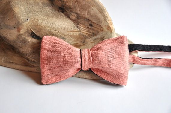 Peach Bow Tie Raspberry Bow Tie Coral Bow Tie by WingedBowTies