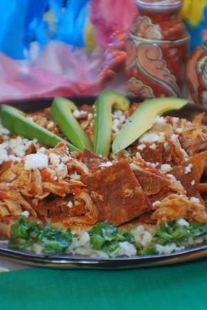 Chilaquiles Rojos (red sauce) with Chicken Recipe Authentic Mexican Recipe ~~~ A really traditional breakfast or lunch