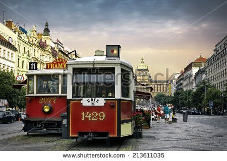 PRAGUE, CZECH REPUBLIC - JUNE 11, 2014: Vintage cafe in old tram on Wenceslas Square, one of the main city squares, New Town of Prague, Czech Republic - stock photo