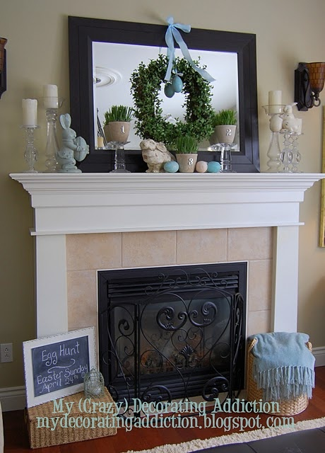 """Finally!  A solution to my open window over the fireplace...place a large framed mirror with a wreath over it to """"block"""" the space?"""