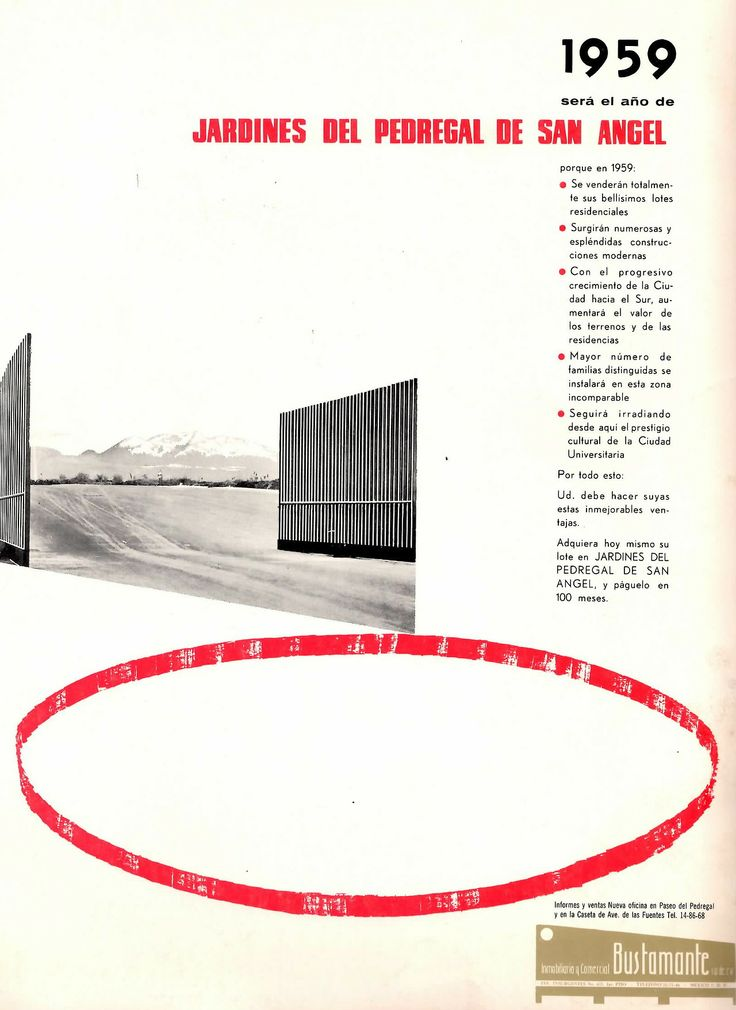 Publicidad de los Jardines del Pedregal, México DF 1959 - Advertisement for the Gardens of Pedregal, Mexico CIty 1959