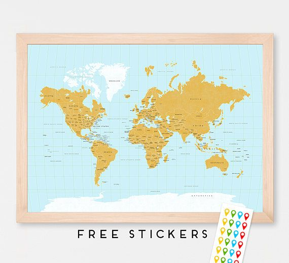 Rustic World Map Art Print Poster Countries - Political - USA states - Names - Travel Map World Map -