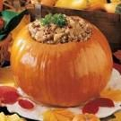 Savory Beef Stew in a Pumpkin .  Taste of Home Magazine.  Been making this every fall for several yrs