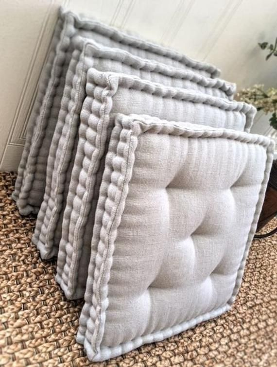 Set Of 4 Seat Pads Box Cushions Handmade Tufted French Etsy Seat Pads Box Cushion Seat Cushions Diy