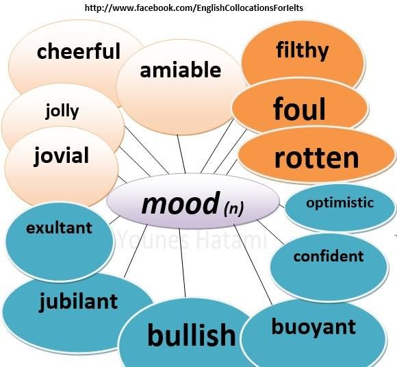 Collocations with the noun 'mood'.