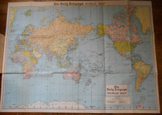 Nice Vintage Daily Telegraph World Map Showing Post War Political Developments.