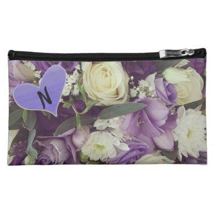Monogram Purple Floral Make-Up Case - purple floral style gifts flower flowers diy customize unique