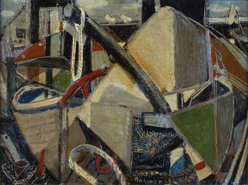 """Fishermen's Wharf, "" Arthur Lismer, 1954, oil on panel, Art Gallery of Nova Scotia."